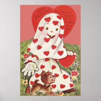 Tarjeta del día de San Valentín linda del corazón  Póster