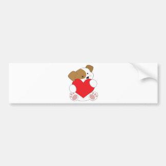 Tarjeta del día de San Valentín linda del perrito Pegatina Para Auto