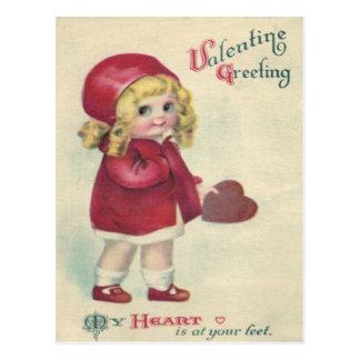 Tarjeta del día de San Valentín linda retra del Postal