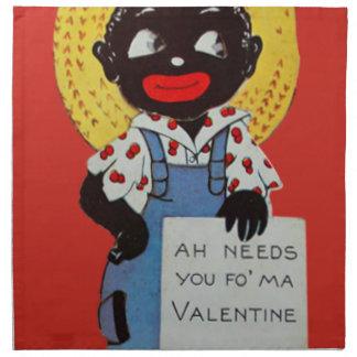 Tarjeta del día de San Valentín negra del gorra de Servilleta