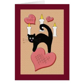 Tarjeta del día de San Valentín negra linda del ga