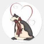 Tarjeta del día de San Valentín negra y blanca del Pegatinas Redondas