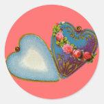 Tarjeta del día de San Valentín pasada de moda Pegatina Redonda
