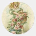 Tarjeta del día de San Valentín Pegatinas Redondas