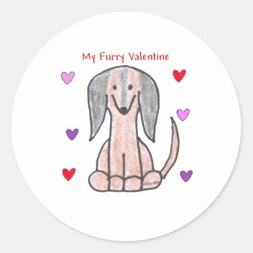 Tarjeta del día de San Valentín peluda de Brown Pegatina Redonda