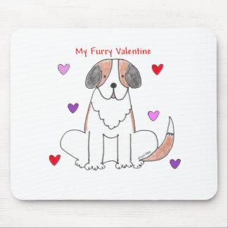 Tarjeta del día de San Valentín peluda de St Berna Alfombrillas De Ratones