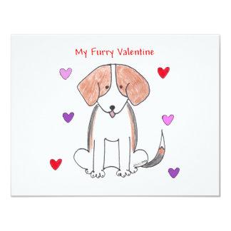 """Tarjeta del día de San Valentín peluda del beagle Invitación 4.25"""" X 5.5"""""""