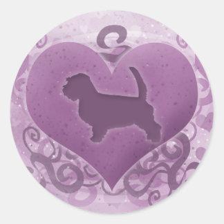 Tarjeta del día de San Valentín pequena púrpura de Etiquetas Redondas