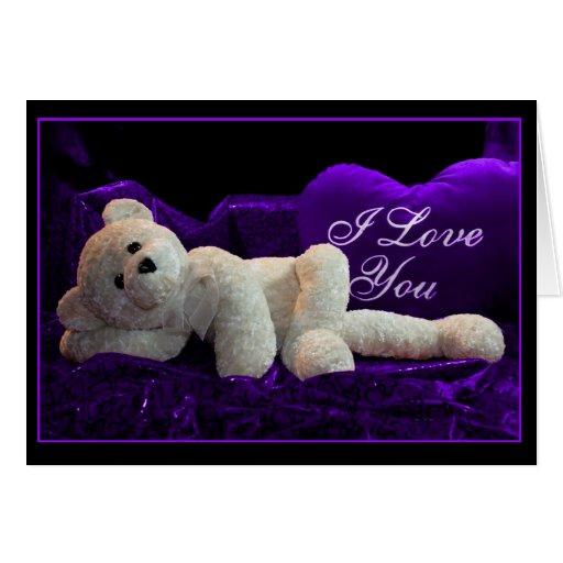 Tarjeta del día de San Valentín púrpura de la pasi