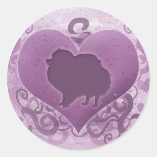 Tarjeta del día de San Valentín púrpura de Pegatina Redonda