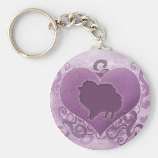 Tarjeta del día de San Valentín púrpura de Pomeran Llavero