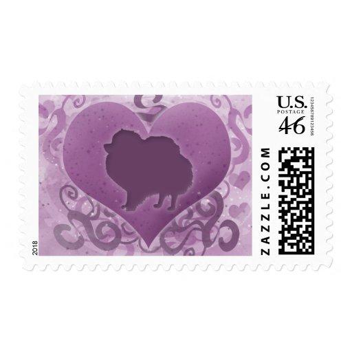 Tarjeta del día de San Valentín púrpura de Pomeran Sellos