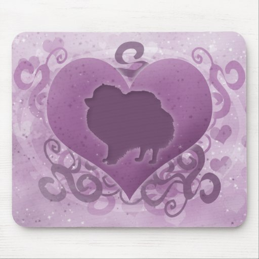Tarjeta del día de San Valentín púrpura de Pomeran Tapetes De Ratón