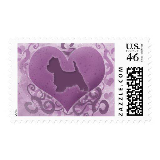 Tarjeta del día de San Valentín púrpura de Westie Sello