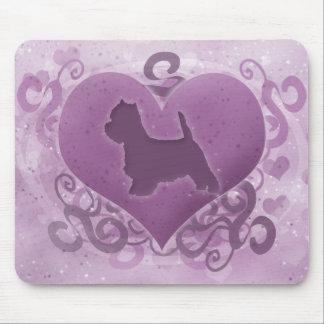 Tarjeta del día de San Valentín púrpura de Westie Alfombrilla De Ratones