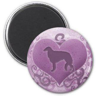 Tarjeta del día de San Valentín púrpura del Borzoi Imán Redondo 5 Cm