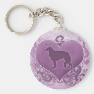 Tarjeta del día de San Valentín púrpura del Borzoi Llavero Redondo Tipo Pin