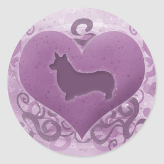 Tarjeta del día de San Valentín púrpura del Corgi Pegatina Redonda