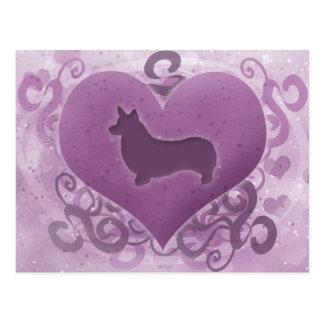 Tarjeta del día de San Valentín púrpura del Corgi  Postal