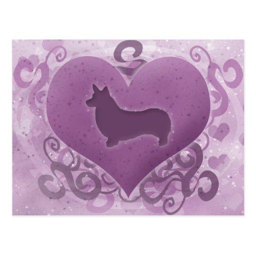 Tarjeta del día de San Valentín púrpura del Corgi  Postales