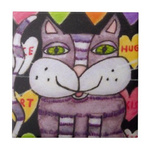 Tarjeta del día de San Valentín púrpura del gato d Azulejo Ceramica