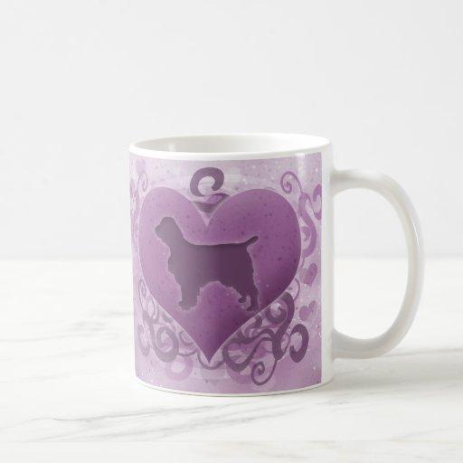 Tarjeta del día de San Valentín púrpura del perro  Taza