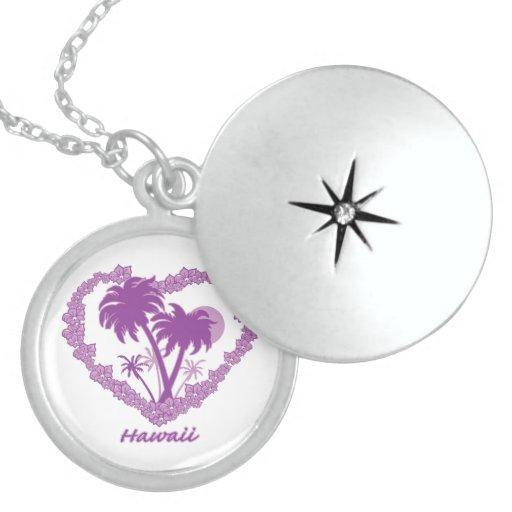 Tarjeta del día de San Valentín púrpura hawaiana d Pendiente Personalizado