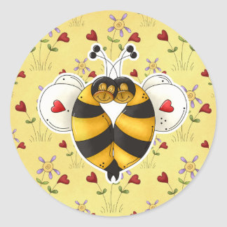 Tarjeta del día de San Valentín que abraza abejas Pegatina Redonda