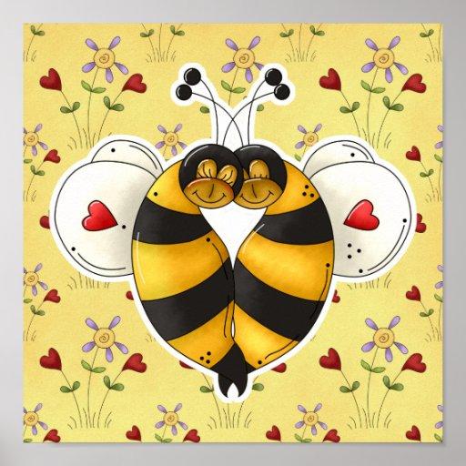 Tarjeta del día de San Valentín que abraza abejas  Póster