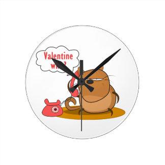 ¿Tarjeta del día de San Valentín quién? Reloj Redondo Mediano