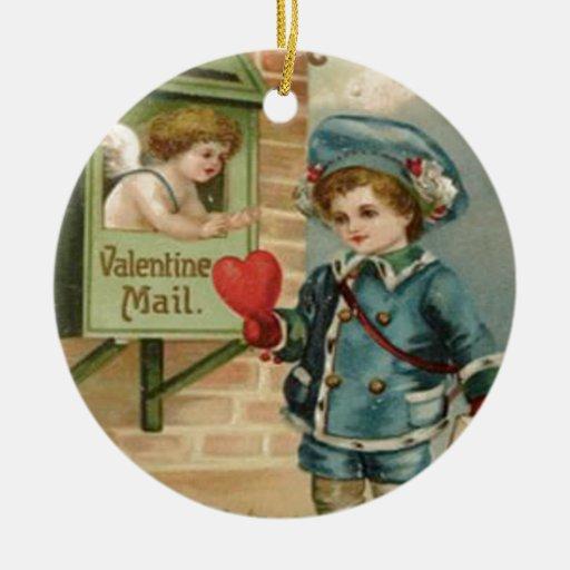 Tarjeta del día de San Valentín retra C del Cupid  Adorno