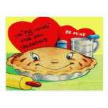 Tarjeta del día de San Valentín retra de la empana Tarjetas Postales