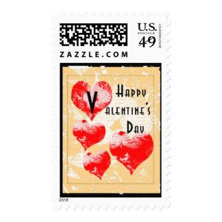 Tarjeta del día de San Valentín retra del corazón Sello