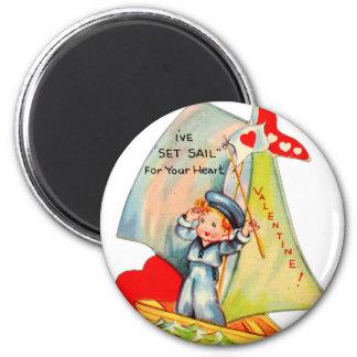 ¡Tarjeta del día de San Valentín retra del vintage Imán Redondo 5 Cm