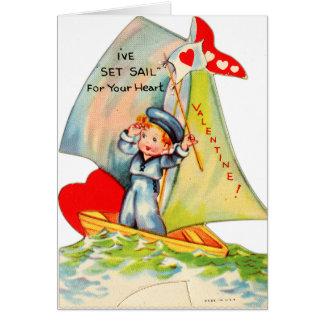 ¡Tarjeta del día de San Valentín retra del vintage Tarjeta De Felicitación