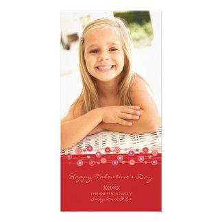 Tarjeta del día de San Valentín roja B de la guirn Tarjeta Con Foto Personalizada