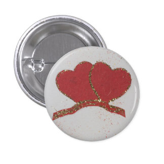 Tarjeta del día de San Valentín roja de la chispa Pin Redondo De 1 Pulgada