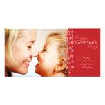 Tarjeta del día de San Valentín roja de la guirnal Tarjetas Personales Con Fotos