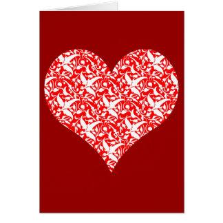 tarjeta del día de San Valentín roja del damasco d