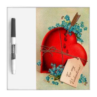 Tarjeta del día de San Valentín roja grande del Pizarras Blancas