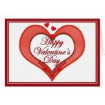 Tarjeta del día de San Valentín roja moldeada del