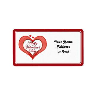 Tarjeta del día de San Valentín roja moldeada del Etiquetas De Dirección