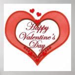 Tarjeta del día de San Valentín roja moldeada del  Posters