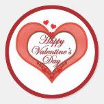 Tarjeta del día de San Valentín roja moldeada del Etiqueta Redonda