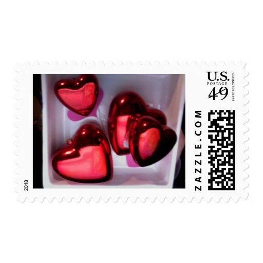 Tarjeta del día de San Valentín roja romántica Sellos