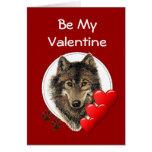 Tarjeta del día de San Valentín romántica del lobo