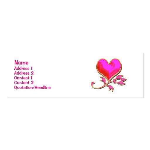Tarjeta del día de San Valentín rosada del brillo  Plantilla De Tarjeta Personal