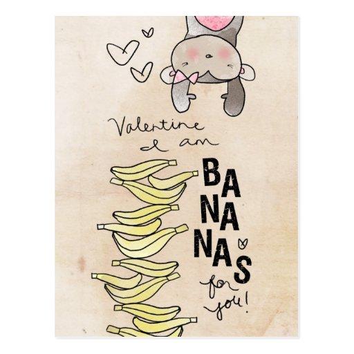 Tarjeta del día de San Valentín soy plátanos por Postal