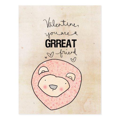 Tarjeta del día de San Valentín usted es un amigo Tarjeta Postal