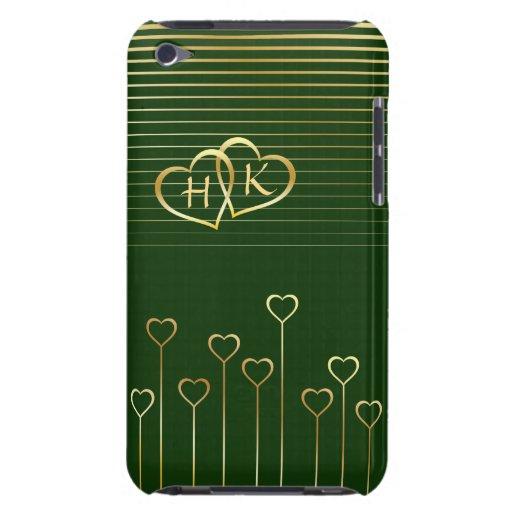 Tarjeta del día de San Valentín verde de los coraz Case-Mate iPod Touch Funda